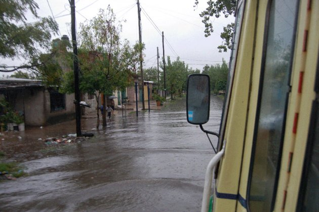 Flooded streets in Fiorito
